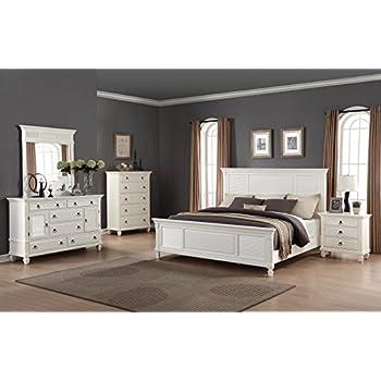 High Quality Roundhill Furniture Regitina 016 Bedroom Furniture Set, King Bed, Dresser,  Mirror, Nightstand