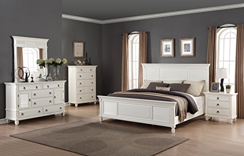 Roundhill Furniture Regitina 016 Bedroom Furniture Set, King Bed, Dresser, Mirror, Nightstand and Chest, (Panel Footboard Nightstand Set)