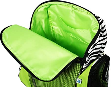 26bf4d51ed52 Threadart Personalized Monogrammed Embroidered Kids Girl Athletic Backpack  - Lime Green Zebra