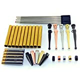 Woodturning Fancy Slimline Pen Kit Set of 5 Mixed Colours, Twist Mechanism