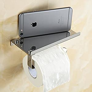 Copter shop 1Pc Stainless Steel Roll Towel Tissue Paper Holder Mobile Phone Shelf Rack Toilet Tissue Boxes Kitchen Bathroom Accessories