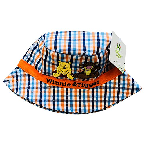 Winnie The Pooh Cotton Cap - Disney Winnie The Pooh 100% Cotton Embroidered Hoed Hat for Baby Boys,2 Baby Sizes,2 Color Variations,UPF 50+ (Orange/Navy, 19 inches)