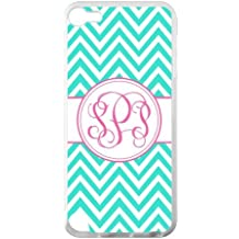 Monogram Personalized Turquoise Chevron Vs Pink Initials Pattern IPOD TOUCH 5 PVC Case/Cover New Fashion, Best Gift