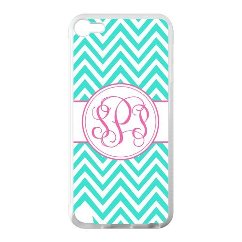 (Monogram Personalized Turquoise Chevron Vs Pink Initials Pattern IPOD TOUCH 5 PVC Case/Cover New Fashion, Best Gift)