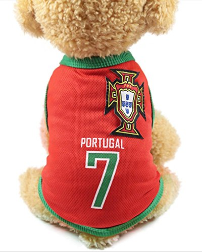 - GabeFish Dog World Cup T Shirt Pets Football Jersey Sports Soccer National Team Vest Cat Summer Cool Clothes Apparel Portugal X-Small