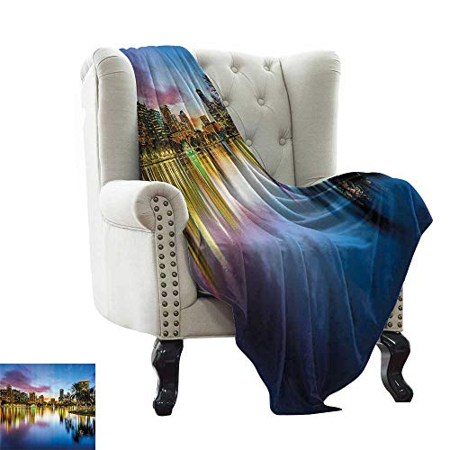 RenteriaDecor Wide Tap,Custom Picture Blankets Famous USA Urban Downtown View of Orlando Florida from EOLA Lake Romantic Scene 62