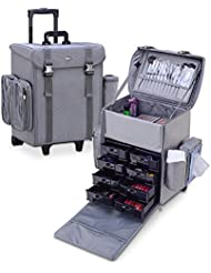 MUA LIMITED Professional Beauty Makeup Artist Trolley Case with Wheels, Soft Cosmetic Case with Removable Side...