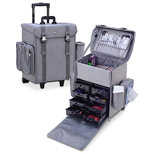 MUA LIMITED Professional Beauty Makeup Artist Trolley Case with Wheels, Soft Cosmetic Case with Removable Side Storage and Drawers, ULTIMATE Series - Gray by MUA Limited