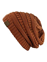 Trendy Warm Chunky Soft Stretch Cable Knit Beanie Skully, Rust