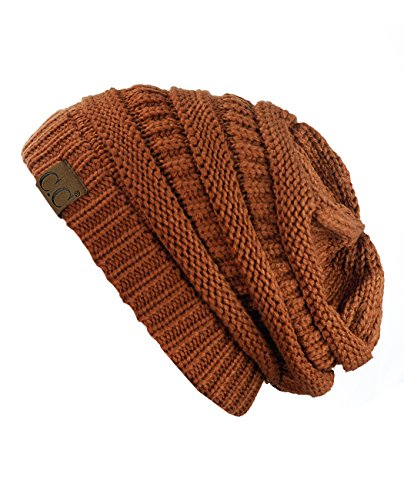 Trendy Warm Chunky Soft Stretch Cable Knit Beanie Skully ,Rust,One Size