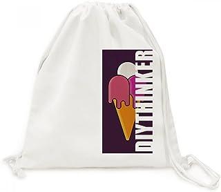 DIYthinker Blanc Rouge Melt Doux Cornet de crème glacée Motif Toile Drawstring Backpack Voyage Sacs