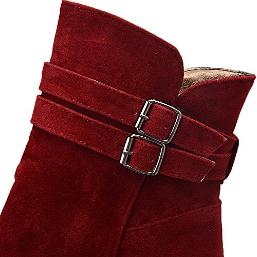 Pull On Claret Low Top Suede Womens Boots Solid Imitated Low Heels AllhqFashion Yq76wOxC