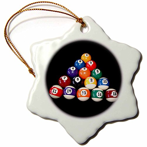 Billiard Ball Ornament (3drose Billiards Balls Pool Snowflake Porcelain Ornament, 3-Inch)