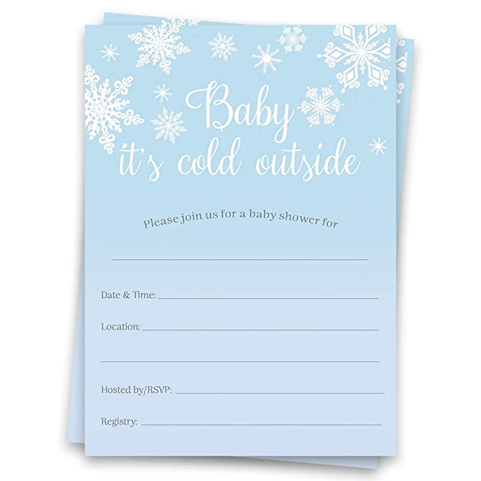 Blue and Silver Snowflake Baby Boy Shower Invitations on Premium Matte Stock with Optional Add-On Return Address Printing.