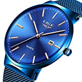 Mens Watches,LIGE Watches for Men Fashion Sports Waterproof Stainless Steel Mesh Wristwatch Men Bussiness Dress with...