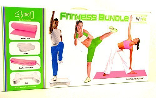 Digital Gadgets 4 in 1 Wii Fit Fitness Bundle Includes Mat Step Textured Socks & Carry Bag Pink by Digital Gadgets