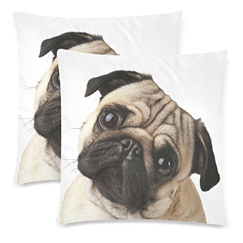InterestPrint Custom 2 Pack Close-up of Pug Dog Throw Pillow