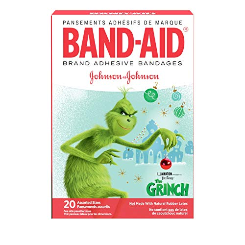 Band-aid Brand Adhesive Bandages, Dr. Seuss The Grinch, Assorted Sizes, 20 Count (Pack of 24)