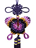 Feng Shui Decor, KNOT LOVE Chinese Knot Tassels with Butterfly, Lucky Charms for Prosperity and Good Fortune, Chinese Home Decoration (Purple)