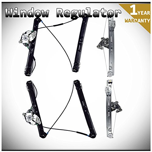 WIN-2X New 4pcs Complete Front+Rear Driver & Passenger Side Power Window Regulators Without Motor Fit 99-05 BMW E46 320i/323i/328i/325i/325xi/330i/330xi 4-Door Sedan/5-Door Wagon