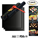 Grill Mat Set of 3 - 100% Non-Stick BBQ Grill & Baking Mats- FDA Approved, PFOA Free, Reusable and Easy to Clean for Electric, Gas, Charcoal Grill and Oven Liner with Basting Brush, 15.76×12.99 inch