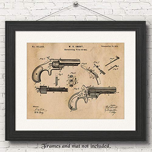 - Original Antique Smith and Wesson Firearm Patent Art Poster Print - Set of 1 (One 11x14) Unframed - Great Wall Art Decor Gift for Home, Office, Studio, Garage, Man Cave, NRA Fan-Collector-Owner-Cowboy