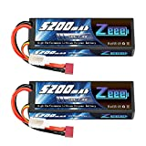 Zeee 2S Lipo Battery 7.4V 50C 5200mAh RC Lipo Batteries Hard Case with Deans T Connector for RC Vehicles Car, Trucks(2 Pack)