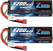 Zeee 7.4V Lipo Battery 2S 50C 5200mAh Lipos Hard Case with Dean-Style T Connector for RC Car Trucks 1/8 1/10 R