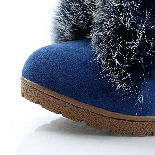 Boots Darkblue Solid M Womens Round 5 AmoonyFashion PU Frosted Toe US with High Heels Rubber B Wedge Closed vzdcdA