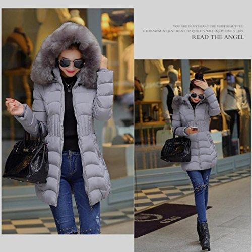 Jacket Parka Gray Faux With Fur Women's Cotton Warm Hood Long Coat Trench Misaky EXwBqE