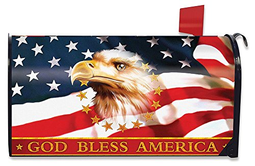 (Briarwood Lane God Bless America Patriotic Magnetic Mailbox Cover Eagle)