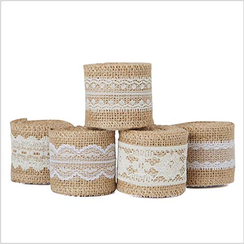 Classic Natural Jute - NX Garden 6 Rolls Natural Jute Burlap Craft Ribbon Roll with White Vintage Lace for DIY Crafts Wedding Decorations 2Meters Each Roll