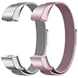 """Oitom Fitbit Alta HR Accessory Bands and Fitbit Alta Band,Small 5.1""""-6.7"""" (Silver+Sakura Pink, Small 5.1""""-6.7"""")"""