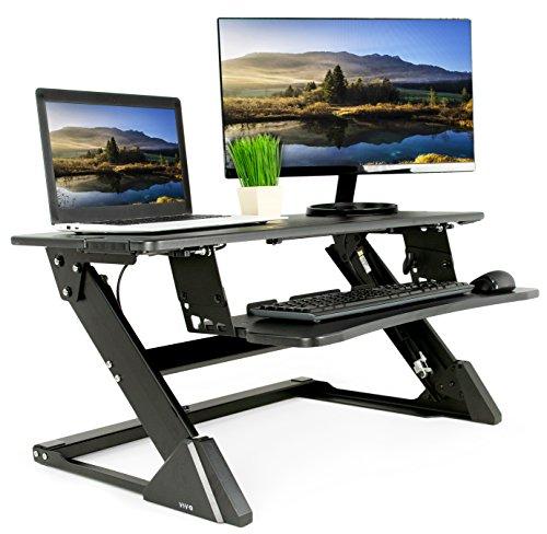 VIVO Black Height Adjustable Dual Tier Pneumatic Spring Stand up Desk Converter 35 Sit to Stand Tabletop Monitor Riser Ergonomic Workstation DESK-V000L