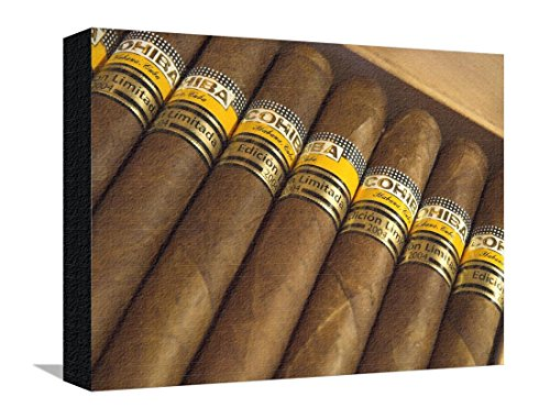 Close Up Of Limited Edition Cigars In A Box  Cohiba  Havana  Cuba  West Indies  Central America Stretched Canvas Print By Eitan Simanor   12 X 16 In