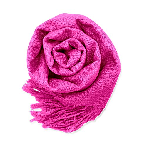Soft Pashmina Scarf for Women Shawl Wrap Scarves Lady Women's Scarfs in Solid Colors - Hot Pink