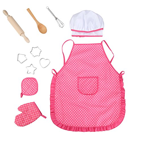 Walbest Kids Chef Set Children Cooking Play Kids Cook Costume with Utensils for Girls,11 Pieces Children Dress up Role Play, Great-Gift -