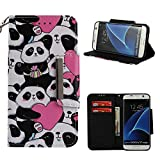 Leather Wallet Case for Samsung Galaxy S7 Edge,Shinyzone Cute Cartoon Animal Love Heart Panda Painted Pattern Flip Stand Case,Wristlet & Metal Magnetic Closure Protective Cover