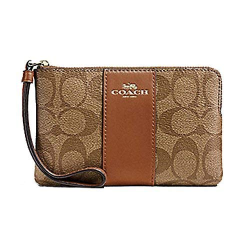 COACH SIGNATURE PVC LEATHER CORNER ZIP WRISTLET, Medium