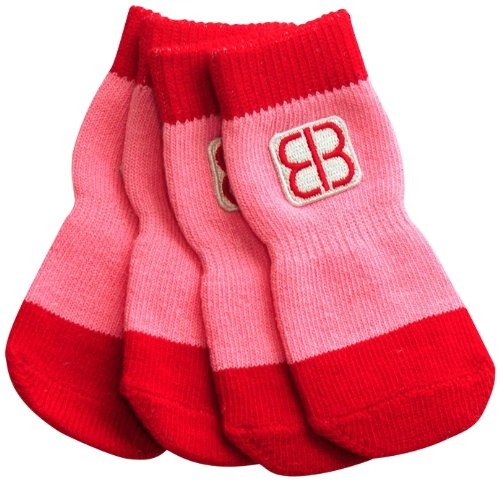Petego Traction Control Indoor Socks for Dogs, Red/Pink, Small, Set of 4