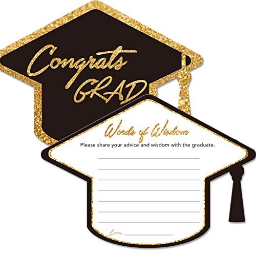 Graduation Advice Cards for The Graduate (50 Pack), High School or College Graduation Party Games Decorations Supplies, Well Wishes Cards for -