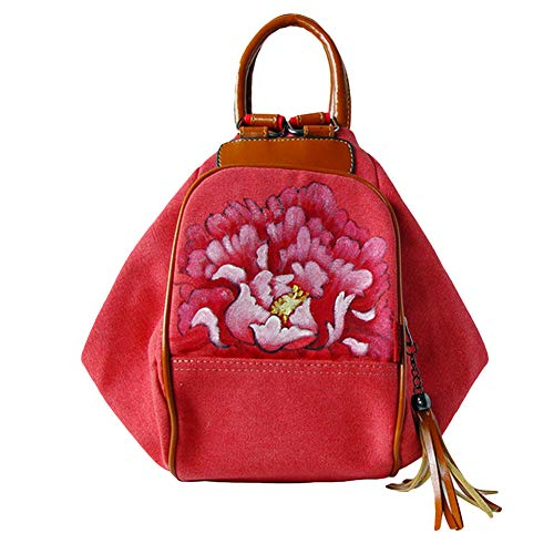 Ethnic Women Hand-paint Flower Backpack Large Capacity Travel Pouch Canvas Bag - Red Peony
