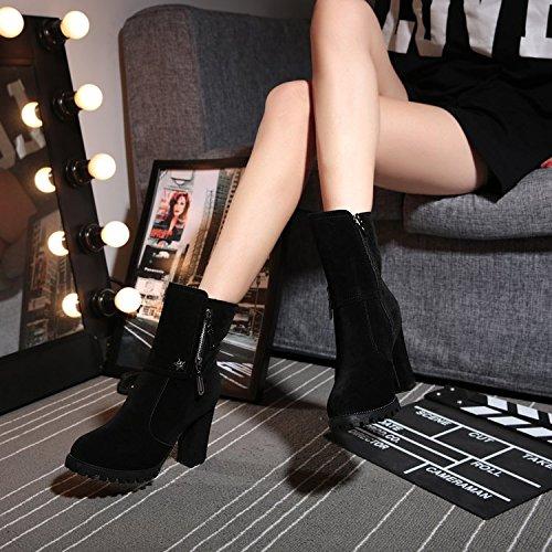 GTVERNH-Die Neue Version Von Martin Alle Treffer Hochhackige Hochhackige Treffer Stiefel Weibliche Britische Stil Slip Matte Schuhe Frauen - Stiefel Im Sinne Der Flut 37 Schwarz - e8dfb5