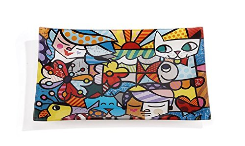 Sold Separately Plate - Romero Britto Glass Plate, Sold Separately (Garden)