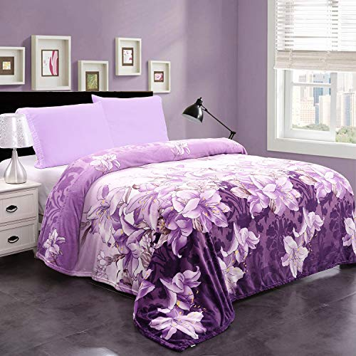 "JML Plush Blanket King Size (90"" x 102""), 300GSM Super Soft Warm Printed Flannel Fleece Blanket for Couch and Sofa, Purple Floral"