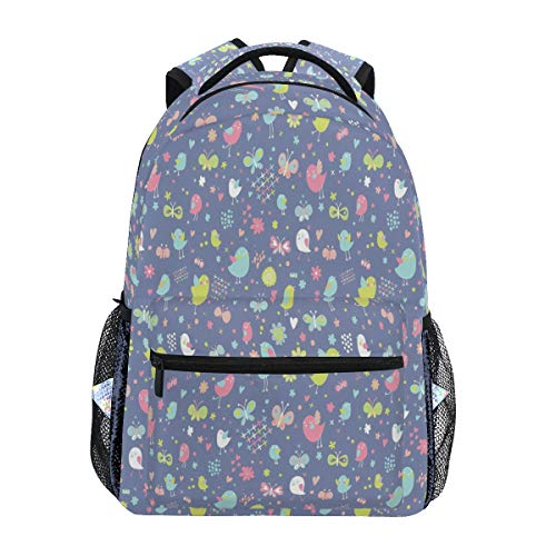 Women/Man Canvas Backpack Special Birds And Butterfly Pattern Zipper College School Bookbag Daypack Travel Rucksack Gym Bag For Youth (Best Itunes Gift Card Offers)