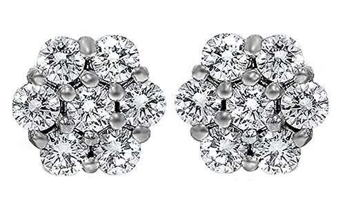 (14K Solid White Gold Cluster Natural Diamond Stud Earrings (1 Ct))