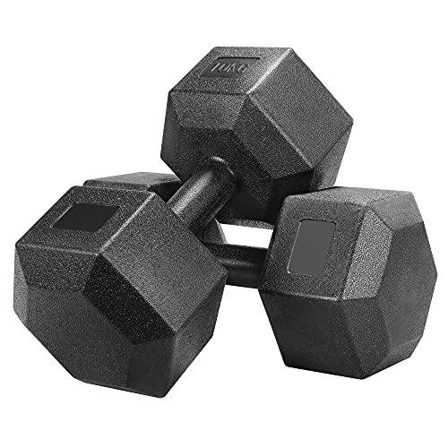 Yaheetech Juego de Mancuernas Hexagonales 5kg/7,5kg/10kg por Cada Una Kit Mancuernas de Ejercicio para Gimnasio Fitness Negra a buen precio
