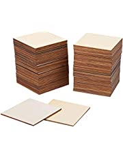80 Pieces Square Unfinished Blank Wood Pieces Wooden Cutout Tiles for Painting Writing and DIY Arts Crafts Project,3 x 3 Inch (3 x 3 Inches)