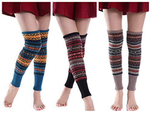 VIGVOG High Knee Legging Boot Socks Long Knitted Snowflake Deer Knitted Warm Long Leg Warmers (Blue&Black&Khaki-01) -